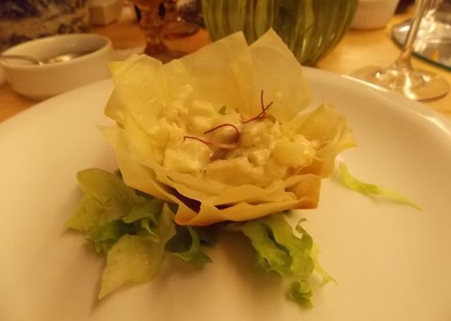 Entrada 2: Flor de massa philo com Alcachofra cemosa ao azeite verde aromatizado